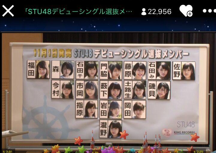 STU48デビューシングル選抜の序列発表!センターは瀧野由美子!ネットの反応→