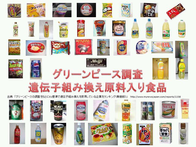 GMO入り食品 グリーンピース調べ