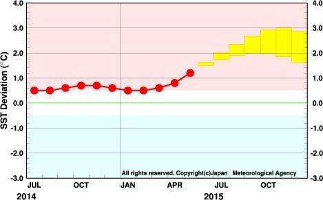 海面水温の予想グラフ