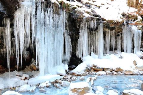 スッカン沢の氷柱群(まだ氷の神殿は早かった^^;)