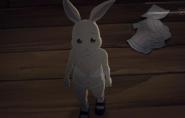 アニメ『BEASTARS』2話でうさぎの女の子が下着姿になって交尾を迫ってくるエロシーンのサムネイル画像