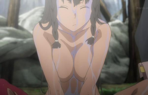 アニメ『ソード・オラトリア ダンまち外伝』1話で女の子のエロい全裸姿やおっぱいなどのサムネイル画像