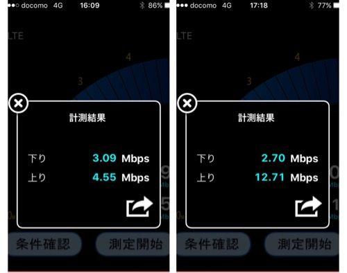 b-mobile速度チェックスクショ夕方