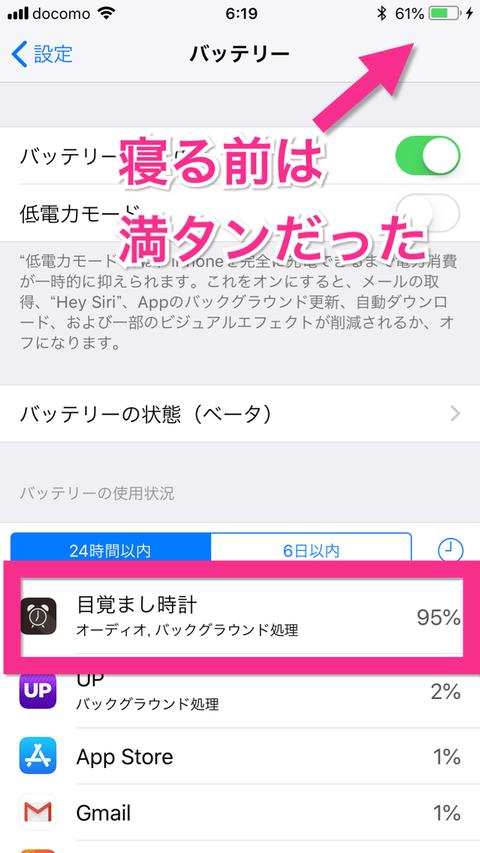 【iPhone】最近、『目覚ましアプリ』の電力消費が激しくないですか?ウチだけですか?