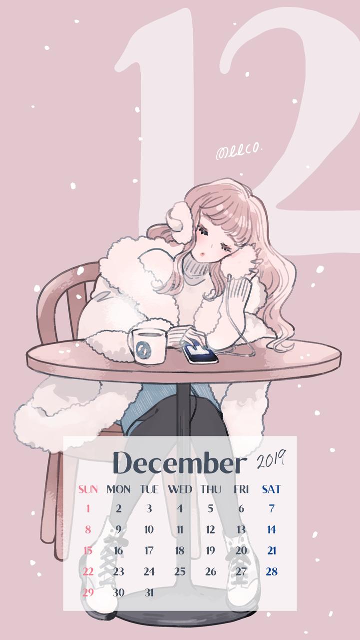 スマホ壁紙配布 12月カレンダー イラストレーターmeecoのブログ