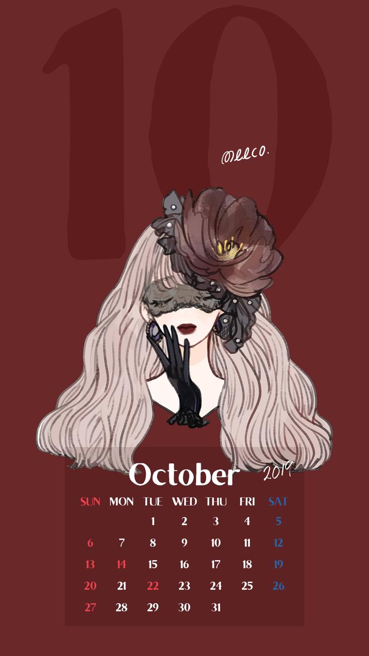 スマホ壁紙 19年10月カレンダー イラストレーターmeecoのブログ Powered By ライブドアブログ