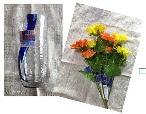 タンブラーと花