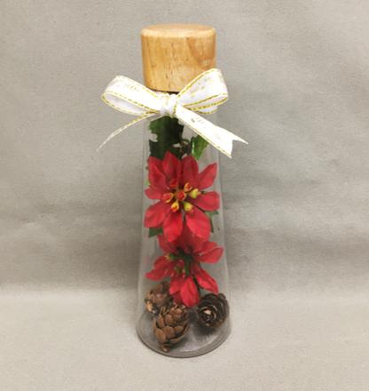 造花を入れたボトル完成