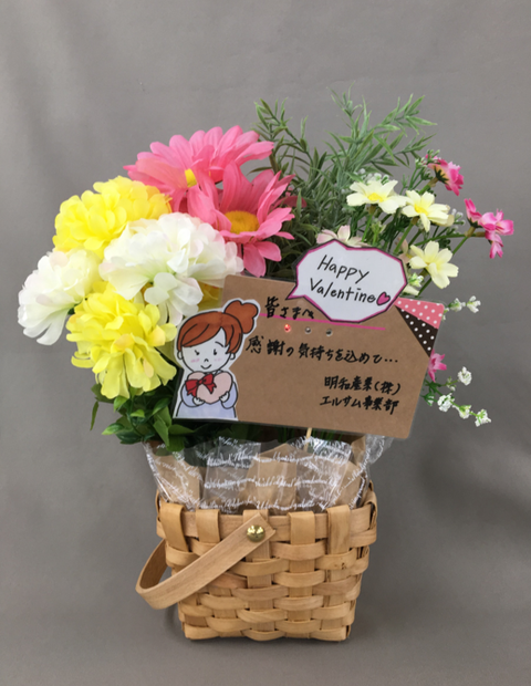 バレンタイン花とPOPカード