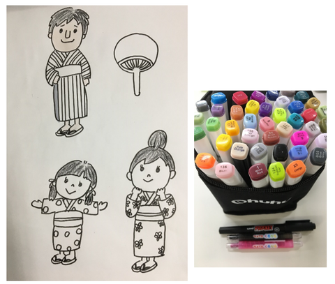 家族のイラストと色塗り