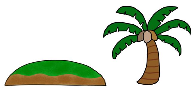 島とヤシの木