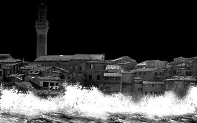 水没する街