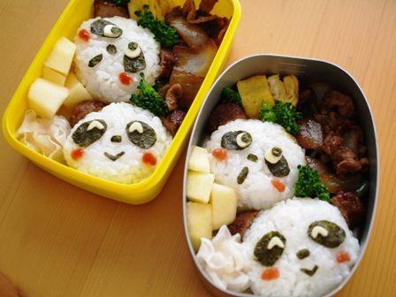 パンダのフェイスおにぎり弁当