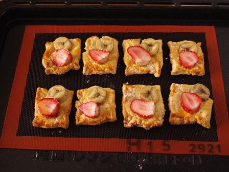 ホットケーキミックスで簡単デニッシュパンいちごとバナナ05