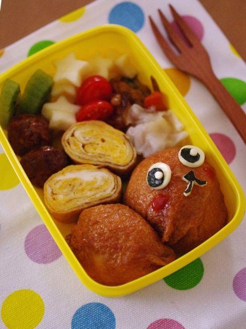 まんまる稲荷寿司で、うさぎさんのキャラ弁当