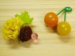 タンポポ薄焼き卵とさくらんぼ風ミニトマト