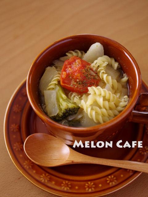 クルルでつくる野菜たっぷり彩りスープパスタ