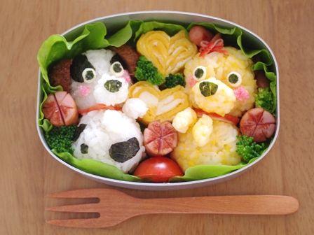 仲良し子犬のお弁当