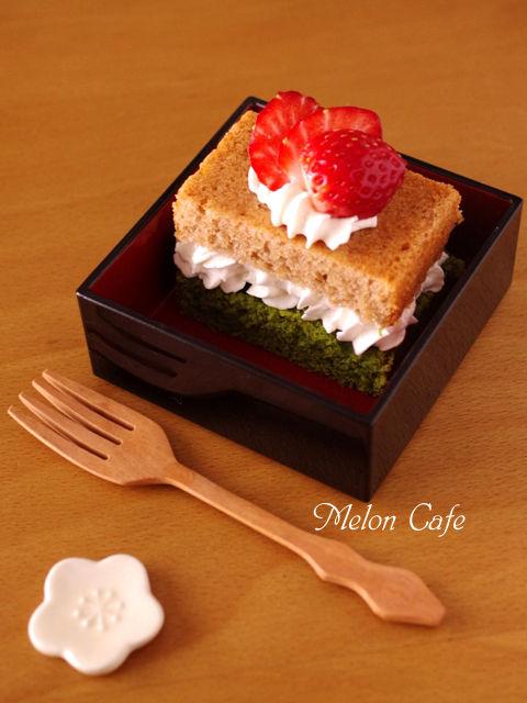 簡単パウンド生地でひなまつりの菱餅色ケーキ