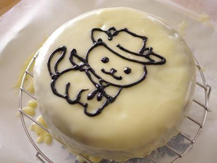 お誕生日ケーキ白とチョコのねこあつめケーキきっどさん06