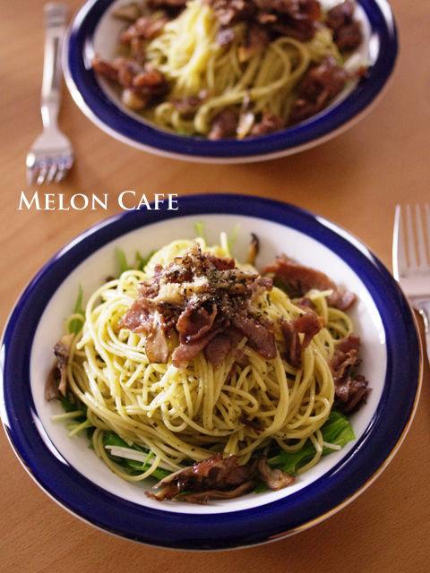 早ゆでスパゲティで水菜と舞茸のバジルソースパスタb1