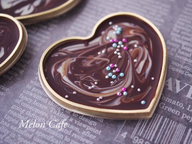 マーブル模様の板チョコレートハート型05