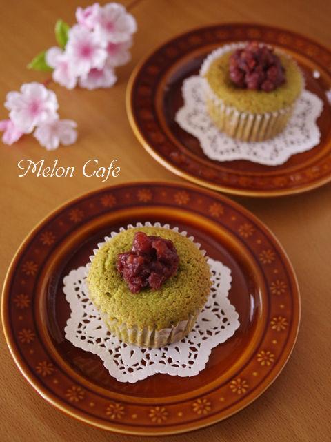 栗の甘露煮まるごと簡単はちみつカップケーキ抹茶とあずき