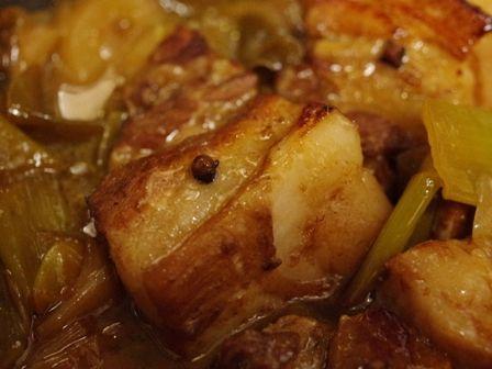根野菜と豚肉ブロックでオレンジ豚煮05