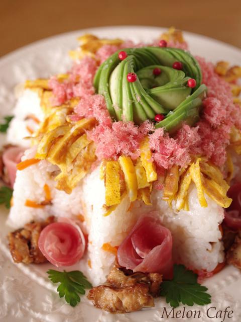 ひな祭りの寿司ケーキ05