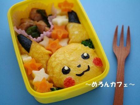 薄焼き卵で、ピカチュウのキャラ弁当☆ポケットモンスターのお弁当01
