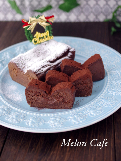 簡単本格クリスマスの半生ガトーショコラ2種チョコ15a
