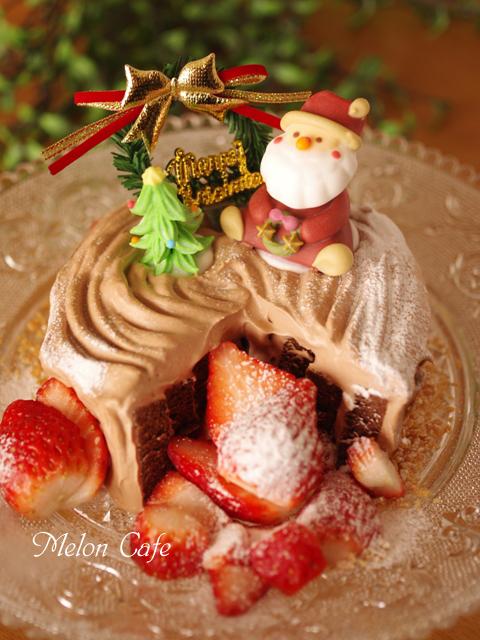切り株チョコの簡単クリスマスケーキ00