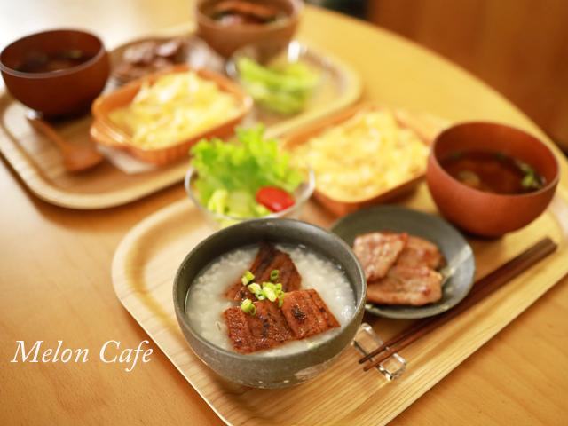 もち麦おかゆとうなぎの食卓06