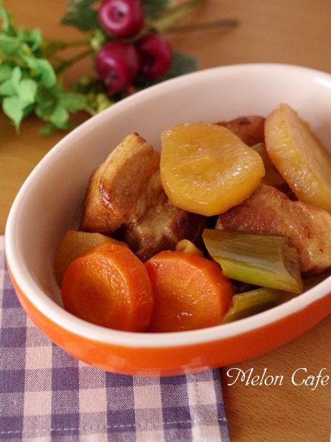 根野菜と豚肉ブロックでオレンジ豚煮01