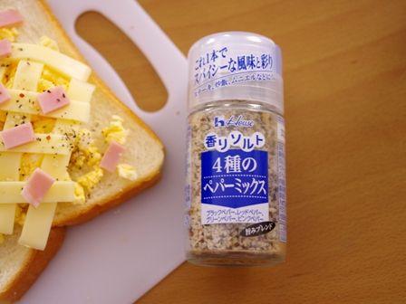 ホット卵サラダチーズトースト00ハウス香りソルト4種のペパーミックス
