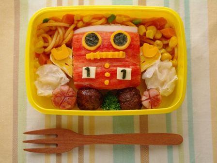 赤いロボット弁当