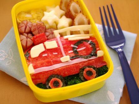 詰めるだけご飯で消防車のお弁当