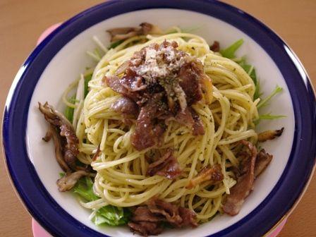 早ゆでスパゲティで水菜と舞茸のバジルソースパスタ05