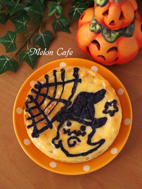 ハロウィンのお絵かきマンゴーチーズケーキ