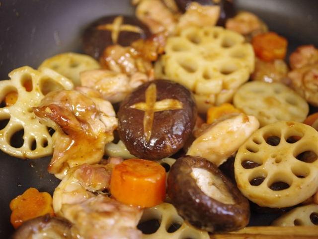 根菜とグリルチキンのごちそう炒め煮06