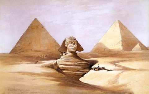 The Great Sphinx, Pyramids of Gizeh-1838 David Roberts