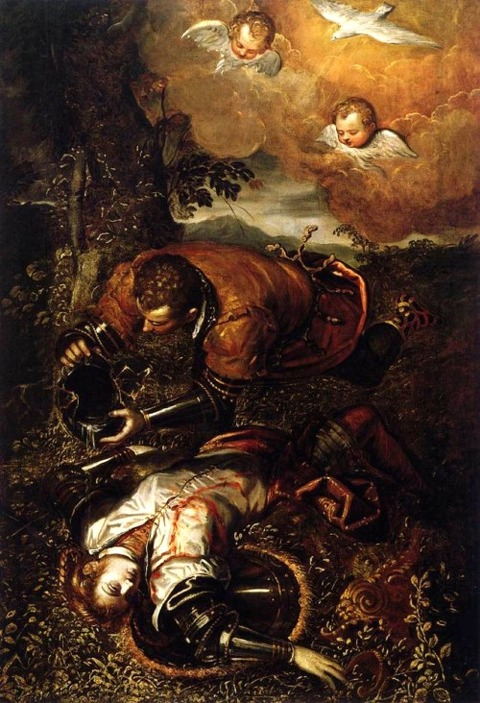 Domenico Tintoretto  Tancred Baptizing Clorinda  1585