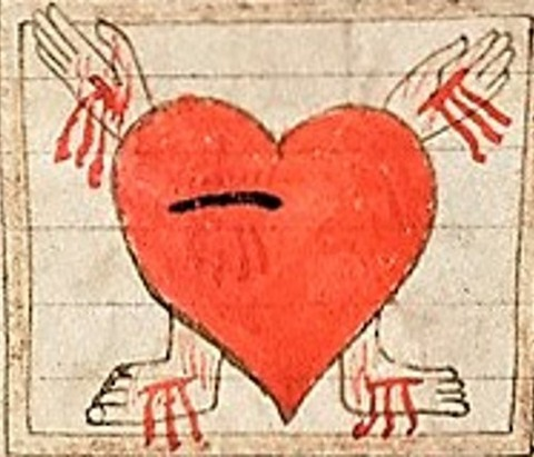 The Sacred Heart of Jesus from a Prayer Roll English, 1495-1505