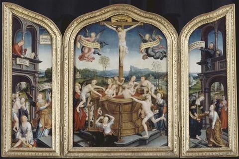 1470-après 1534) Triptyque du Bain mystique