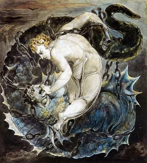 Michael Binding Satan by William Blake
