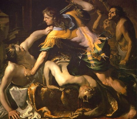 Orestes mata a Clitemnestra 1654 de Bernardino Mei