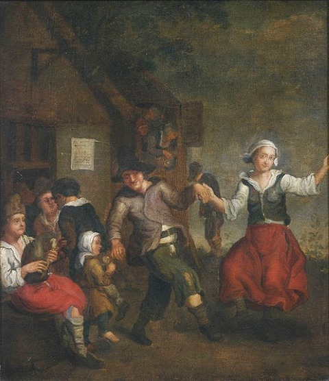 17th century Peasants dancing  unknown