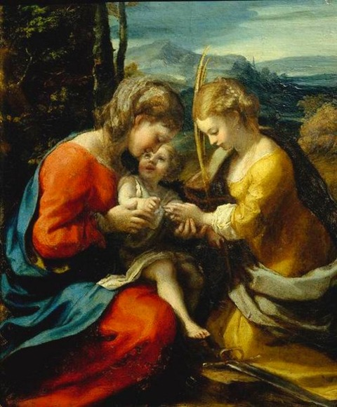 聖カタリナの神秘の結婚 コレッジオ  1518