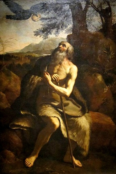 'St. Paul the Hermit Fed by the Raven after  Guercino
