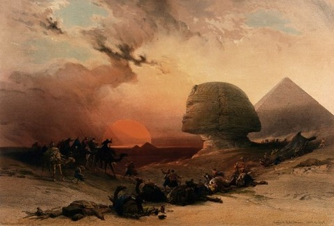 Jacob Jacobs Sandstorm approaching the sphinx at Gîza at sunset